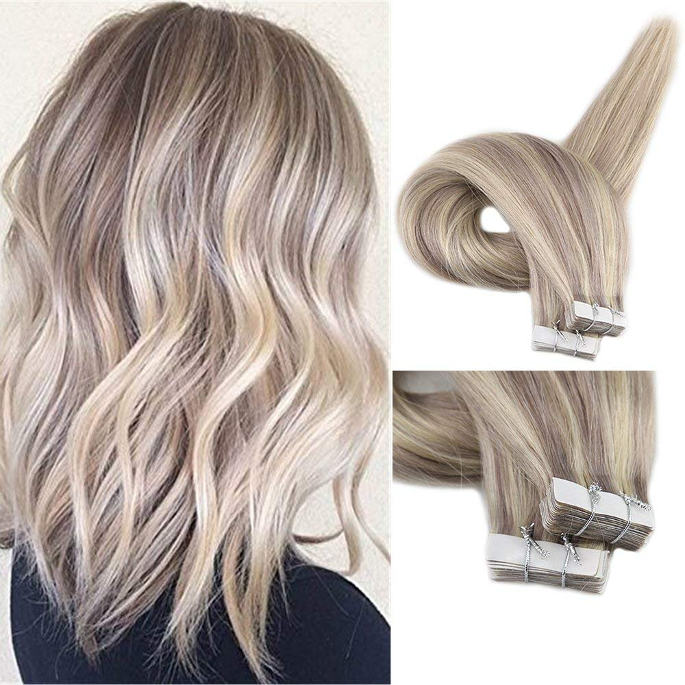 Fshine Tape in Extensions Straight Hair 20 inch Tape Extensions Remy Human Hair Highlighted Color #18 and #22 Blonde Highlighted Straight Remy Tape in Extensions 20Pcs 50 Gram Per Package by Fshine
