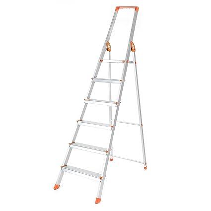 Bathla 6SL Prime Aluminium 6 Step Foldable Ladder (Orange)