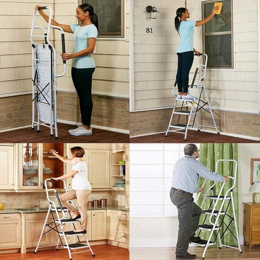 TD Escalera Plegable 4 Escalera Plegable De Acero, Escalera Plegable Portátil For Trabajo Pesado Antiderrapantes con Pasamanos De Seguridad Escalera (Color : Telescopic Ladder(3.2m)): Amazon.es: Hogar