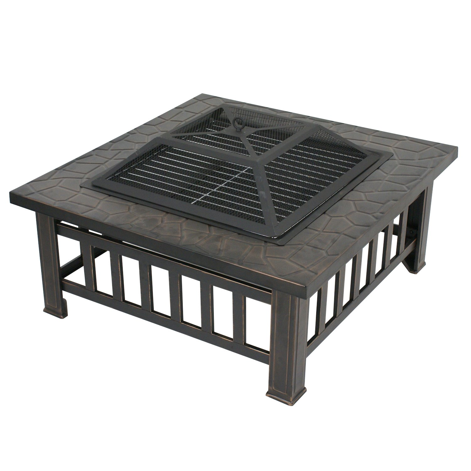 Zeny Fire Pit Outdoor 32'' Metal Firepit Backyard Patio Garden Square Stove Fire Pit With Cover (#02)