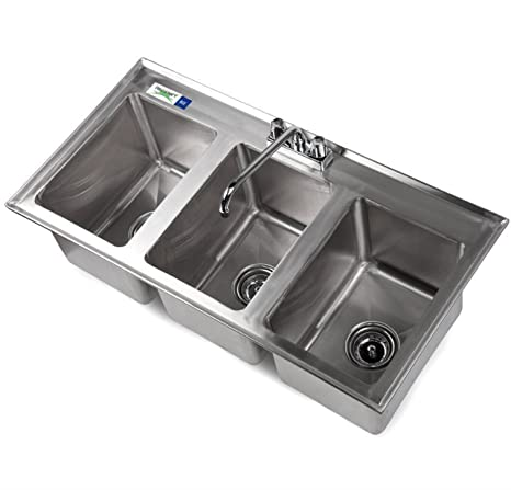 Amazon.com: Fregadero de cocina de acero inoxidable con 3 ...