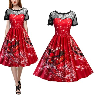 Hongxin S-2XL Christmas Snow Print Lace Vintage Dress V Back A-Line Party
