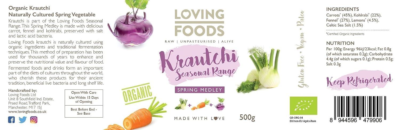 Loving Foods Orgánico Krautchi Mezcla de Primavera (500g) CRUDO ...