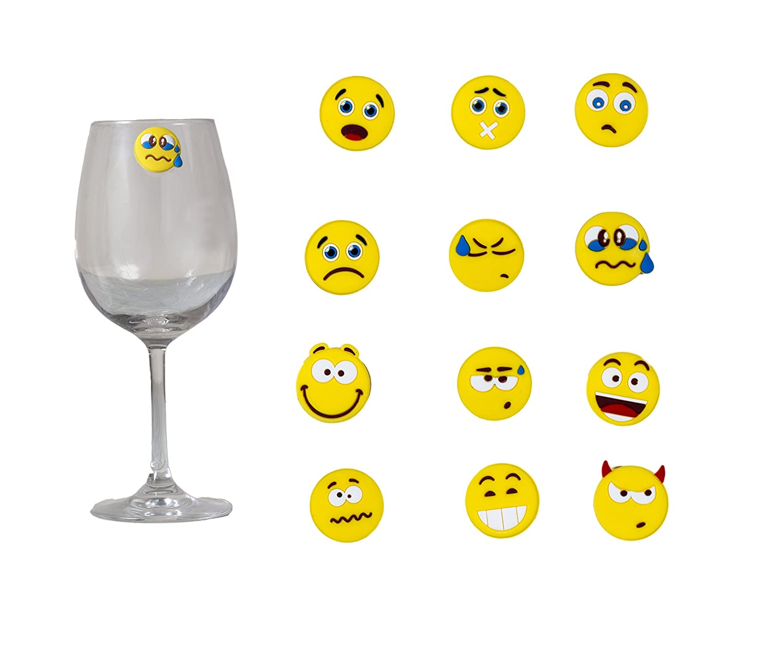 Emoji Party Wine Charm Set of 12 Funny Unique Emojies Silicone Suction  Theme Label Champagne Glass Bottle Mug Glassware Marker Accessories Gift  Idea