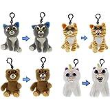 Feisty Pets Minis Collection: Sammy Suckerpunch, Princess Pottymouth, Sir-Growls-a-lot & Glenda Glitterpoop 13cm Plush Stuffed Animals on a Keychain Backpack Clip