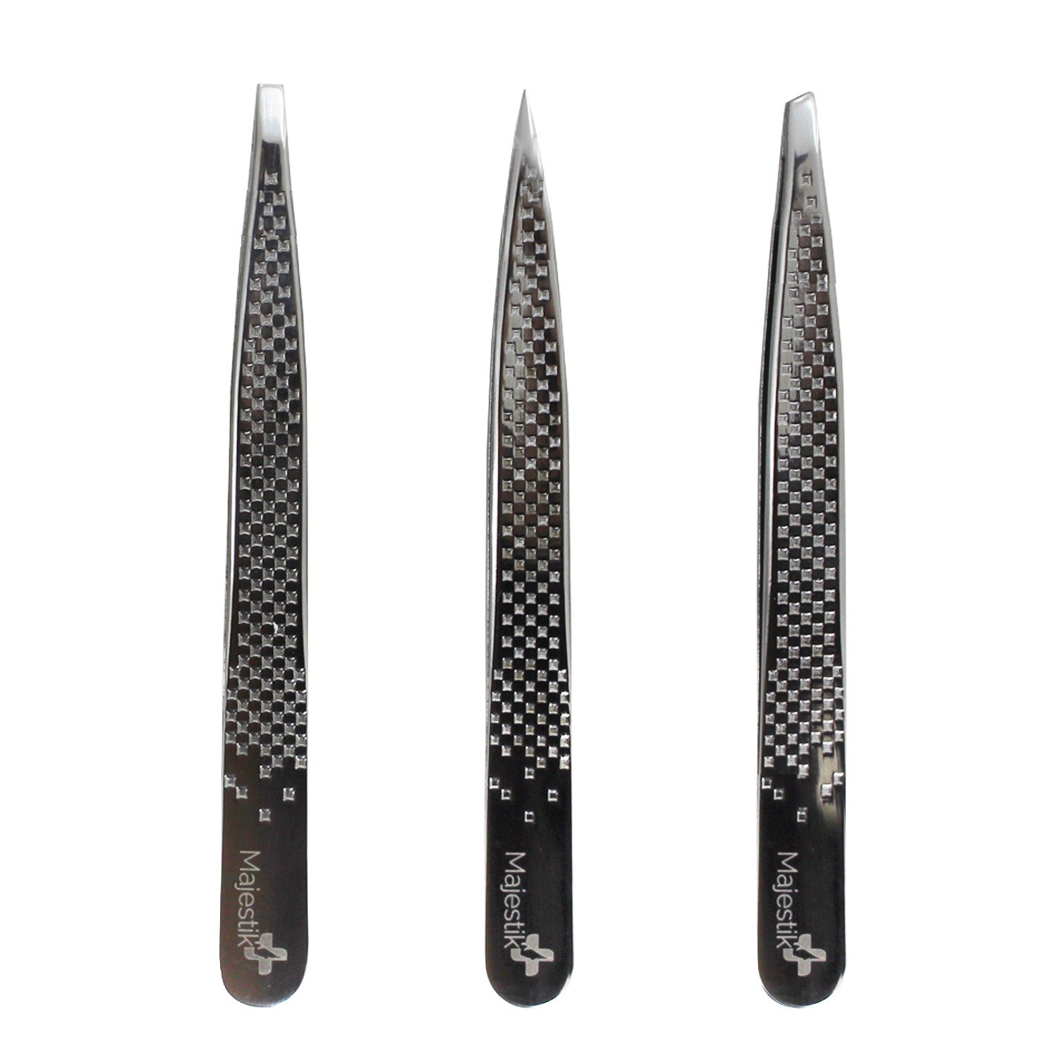 Majestik+ Tweezers Set- 3 Piece Stainless Steel Tweezers Set with Leather Case – Slant, Straight and Pointed Tip Tweezers – Best Use for Eyebrow, Ingrown and Nose Hair, Splinters & More JLS Personal Care Ltd. TS-03