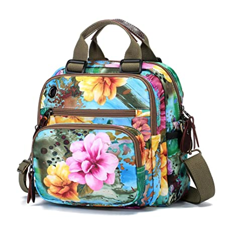64d40d1db53d Amazon.com  Womens Fashion Crossbody Shoulder Bag Flower Printing Purse  Handbags Multi Purpose Shoulder Backpack  Sports   Outdoors