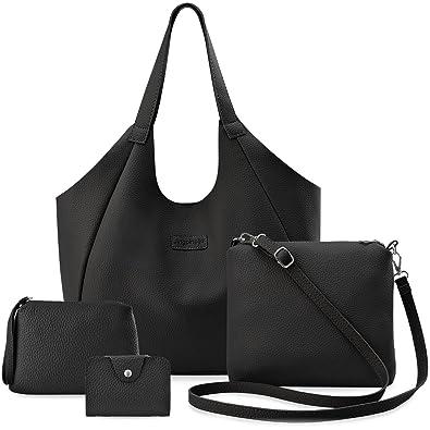 adf99c48e86f5 Handtaschen-Set Shopper Beutel Messenger Kosmetiktasche Etui 4-in-1 -  Schwarz