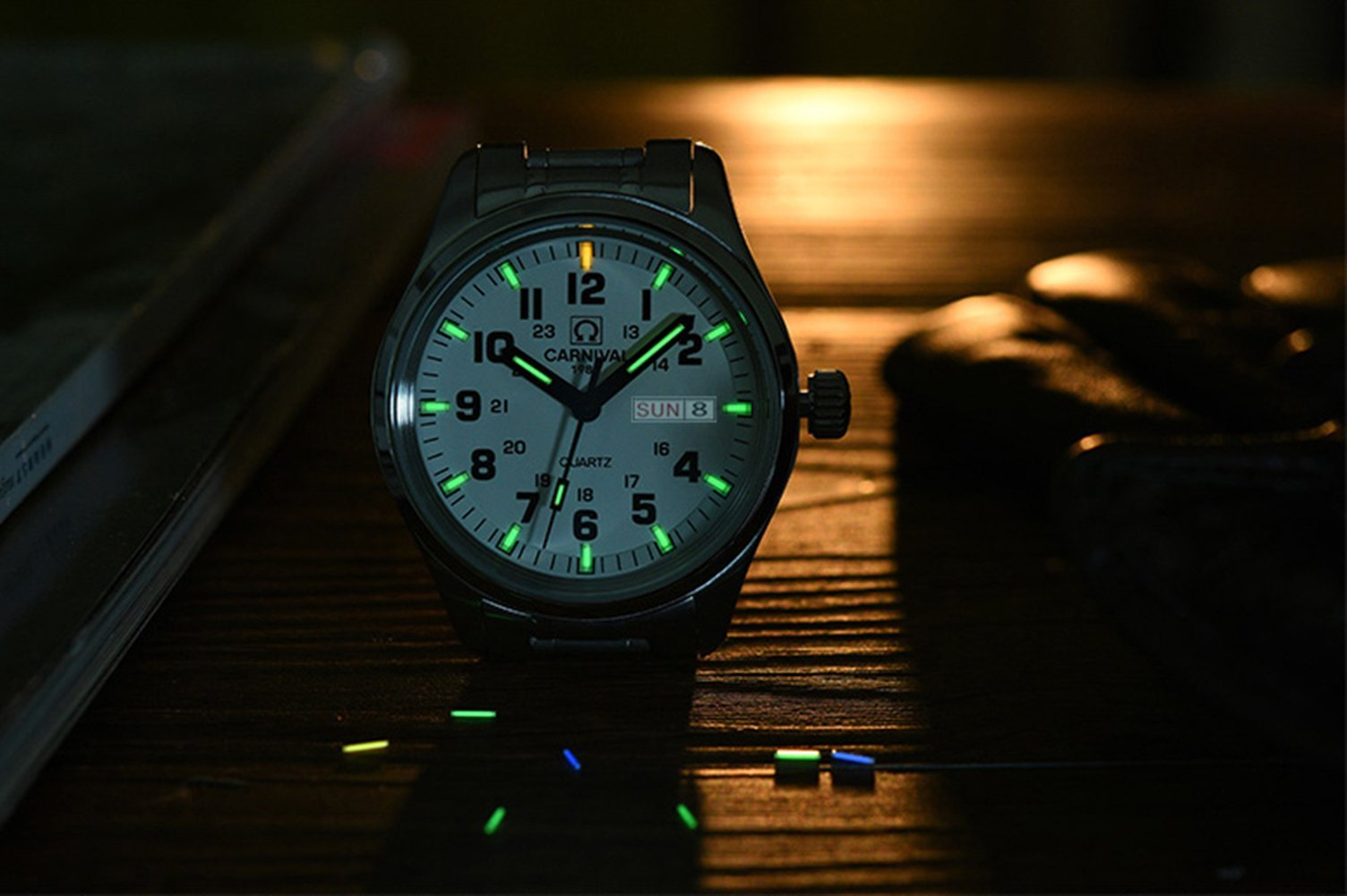 Luminous Wrist Watch waterproof stainless steel Tube Lamp Self Luminous 25 Years Fluorescent Watch for Outdoor Sports