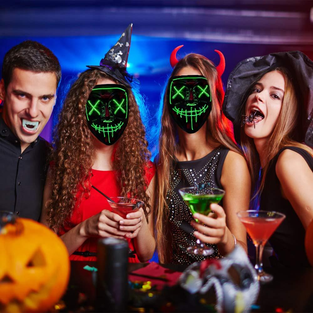 Gruselige Maske Passt Sowohl Kindern Als Auch Erwachsenen YQHbe Led Maske Purge Purge Led Masken Halloween Mit 3 Beleuchtungsmodi F/üR Halloween Dekoration Karneval Party Kost/üm Cosplay Deko