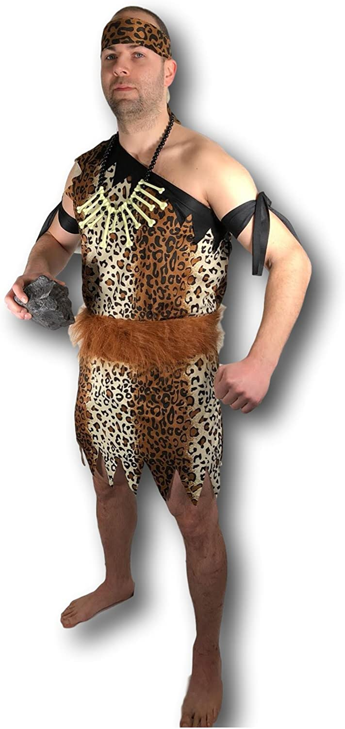 Adult Men Mens Caveman Cave Man One Size Fancy Dress Stag Night Party Costume