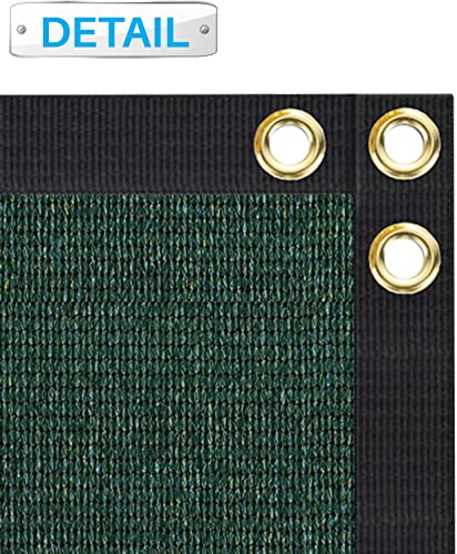 Patio 8 x 112 Privacy Screen Fence in Dark Green, Commercial Grand Mesh Shade Fabric with Brass Gromment Outdoor Windscren – Custom