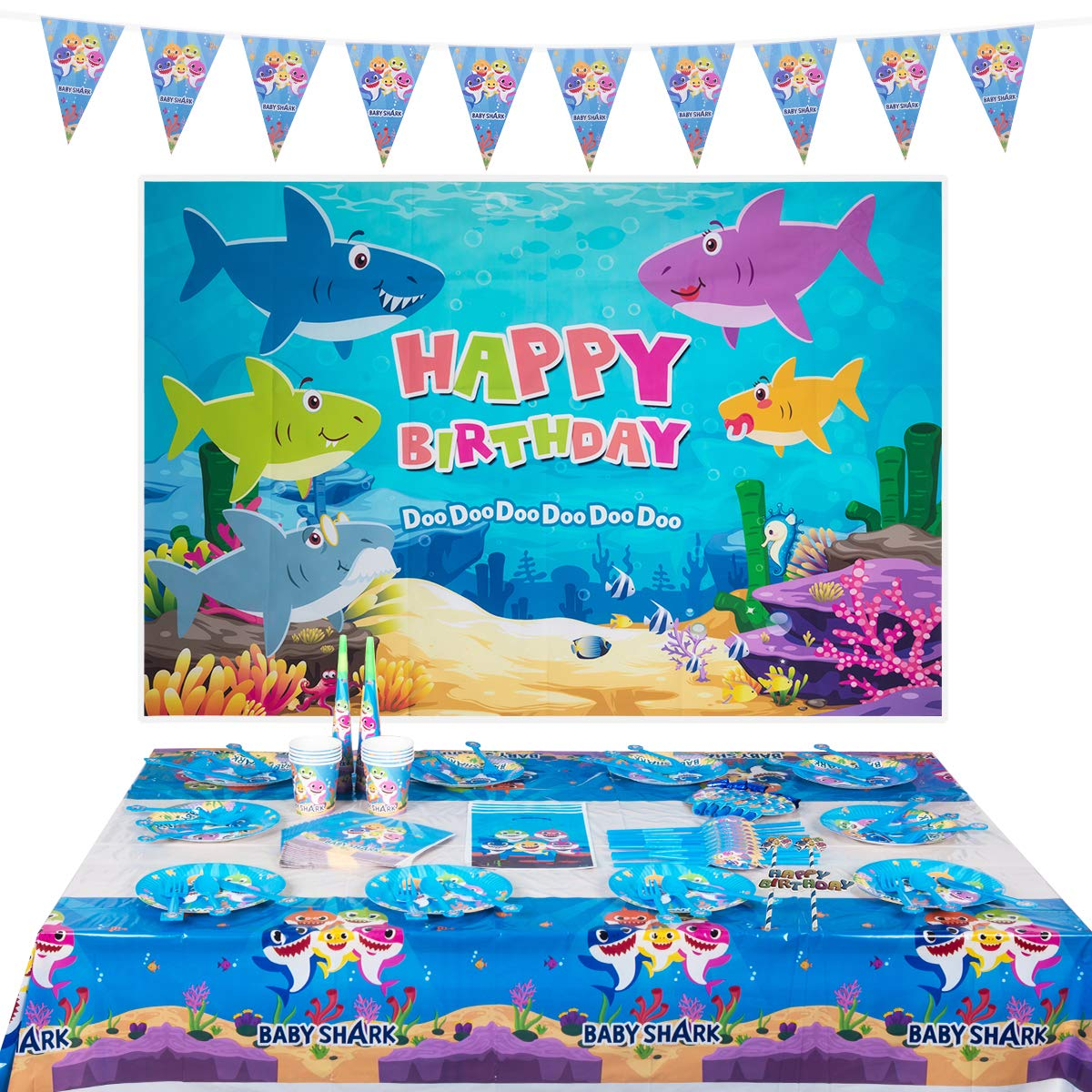 Baby Shark Party Supplies Set - 146 Pieces Shark Baby Birthday Decoration - Shark Party Underwater Backdrop Tableware Cake Topper Paper Hat Gift Bag and Banner,Children Carnival Party Supplies Decoration - Serves 10 Guest