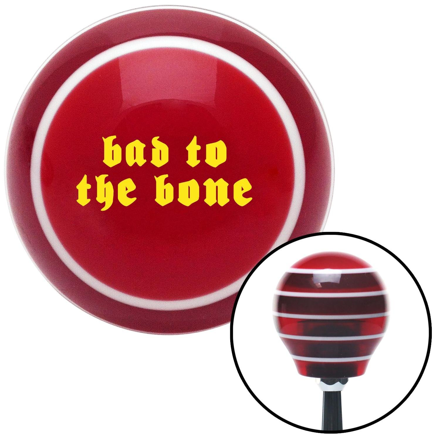 American Shifter 119649 Red Stripe Shift Knob with M16 x 1.5 Insert Yellow Bad to The Bone