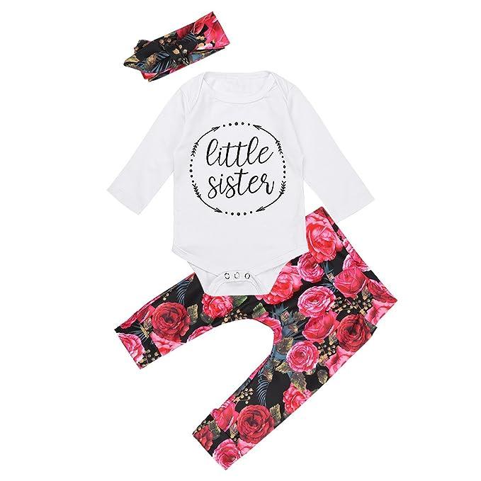 FEESHOW Bebés niñas camiseta blanca mona de manga larga 3PC Conjunto top y pantalones largos para otoño o invierno Blanco y Rosa 12 meses: Amazon.es: Ropa y ...