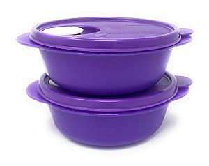Tupperware CRYSTALWAVE Microwave Lunch Bowl SET 2.5 cups New Purple