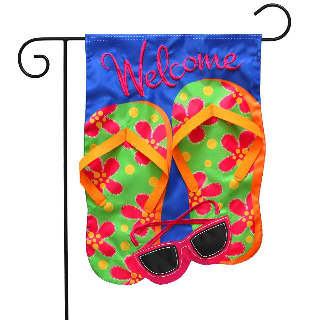 "Briarwood Lane Flip Flops Applique Summer Garden Flag Welcome Sunglasses 12.5"" x 18"""
