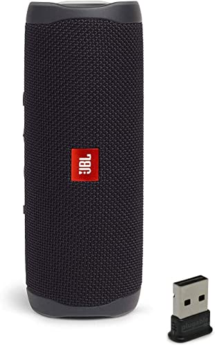 JBL Flip 5 Waterproof Portable Wireless Bluetooth Speaker Bundle with USB 2.0 Bluetooth Adapter – Black