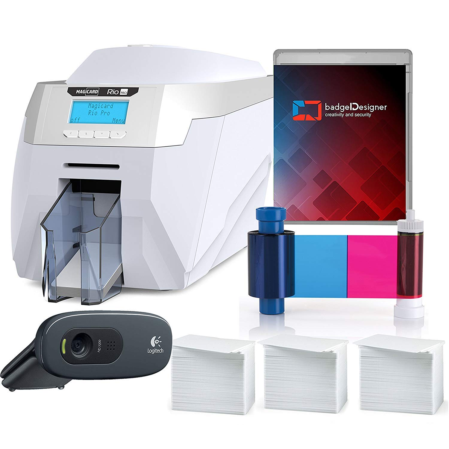 Magicard Rio Pro Single Sided ID Card Printer & Complete Supplies Package with badgeDesigner ID Software