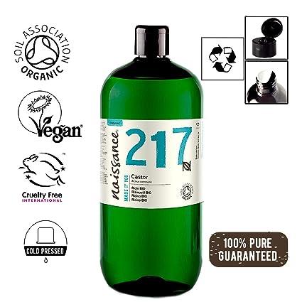Naissance Aceite de Ricino BIO 1 Litro - Puro, natural, certificado ecológico, prensado en frío, vegano, sin hexano, no OGM - Hidrata y nutre el ...