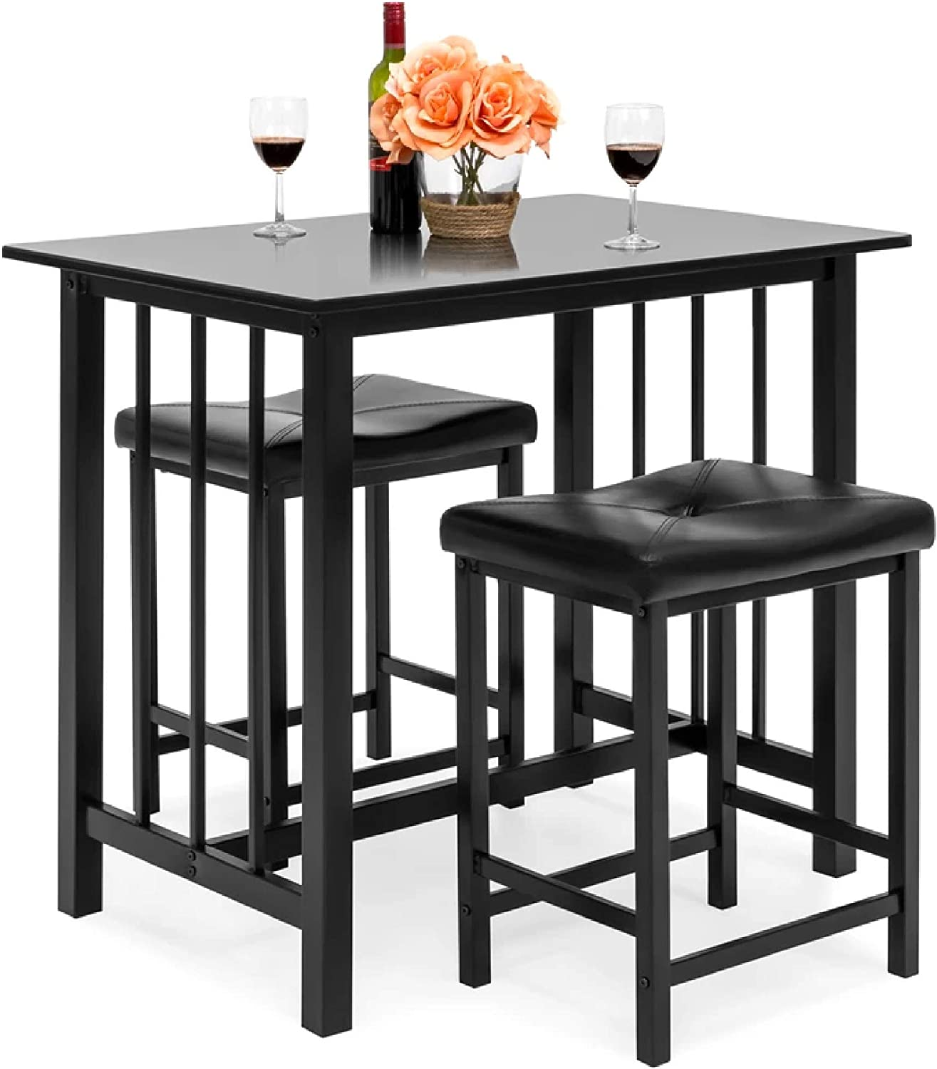 Best Choice Products 3 Piece Counter Height Dining Table Furniture Set For Kitchen Bar Bonus Room W 2 Faux Leather Backless Stools Compact Space Saving Design Black Table Chair Sets