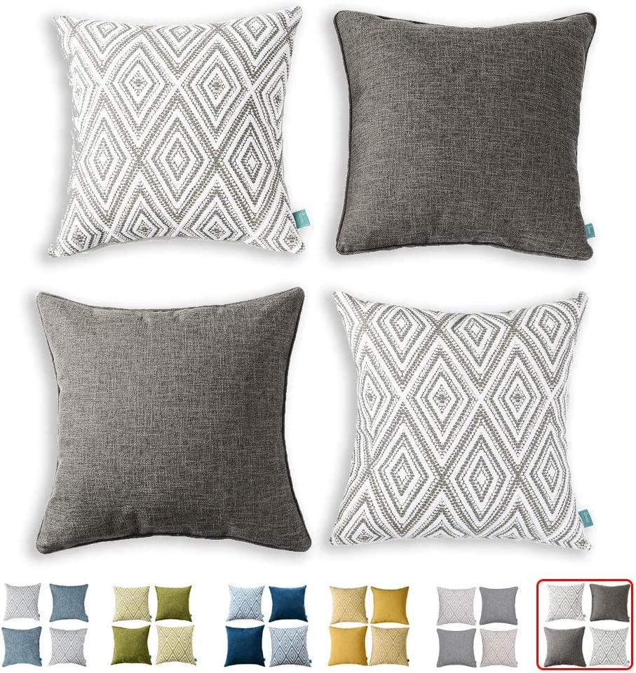 """HPUK Decorative Throw Pillow Covers Set of 4 Geometric Design Linen Cushion Cover for Couch Sofa Living Room, 17""""x17"""" inches, Natural"""