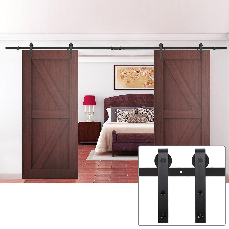 Interior double door hardware - Amazon Com Vintage Black Double Sliding Barn Door Hardware Steel Door Rolling Track Indoor Closet Kit 12ft From Coocheer Home Improvement
