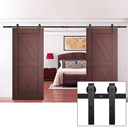 Vintage Black Double Sliding Barn Door Hardware Steel Door Rolling Track  Indoor Closet Kit   12ft