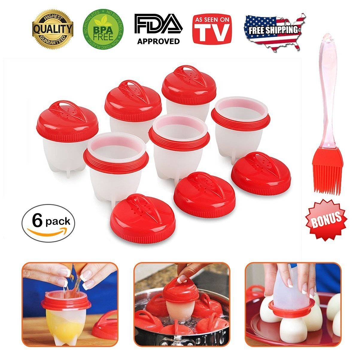 Egg Cookers by MUNCHIEZ - Hard Boiled Eggs without the Shell, Hard & Soft Maker Egg Poacher AS SEEN ON TV,6 Pack + BONUS ITEM!!!