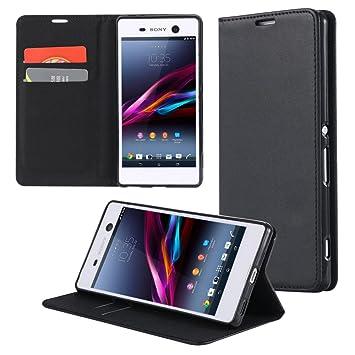 ECENCE Funda para el Sony Xperia M4 Aqua Libro Cover Wallet Case-s Bolsa Negro 31030203: Amazon.es: Electrónica