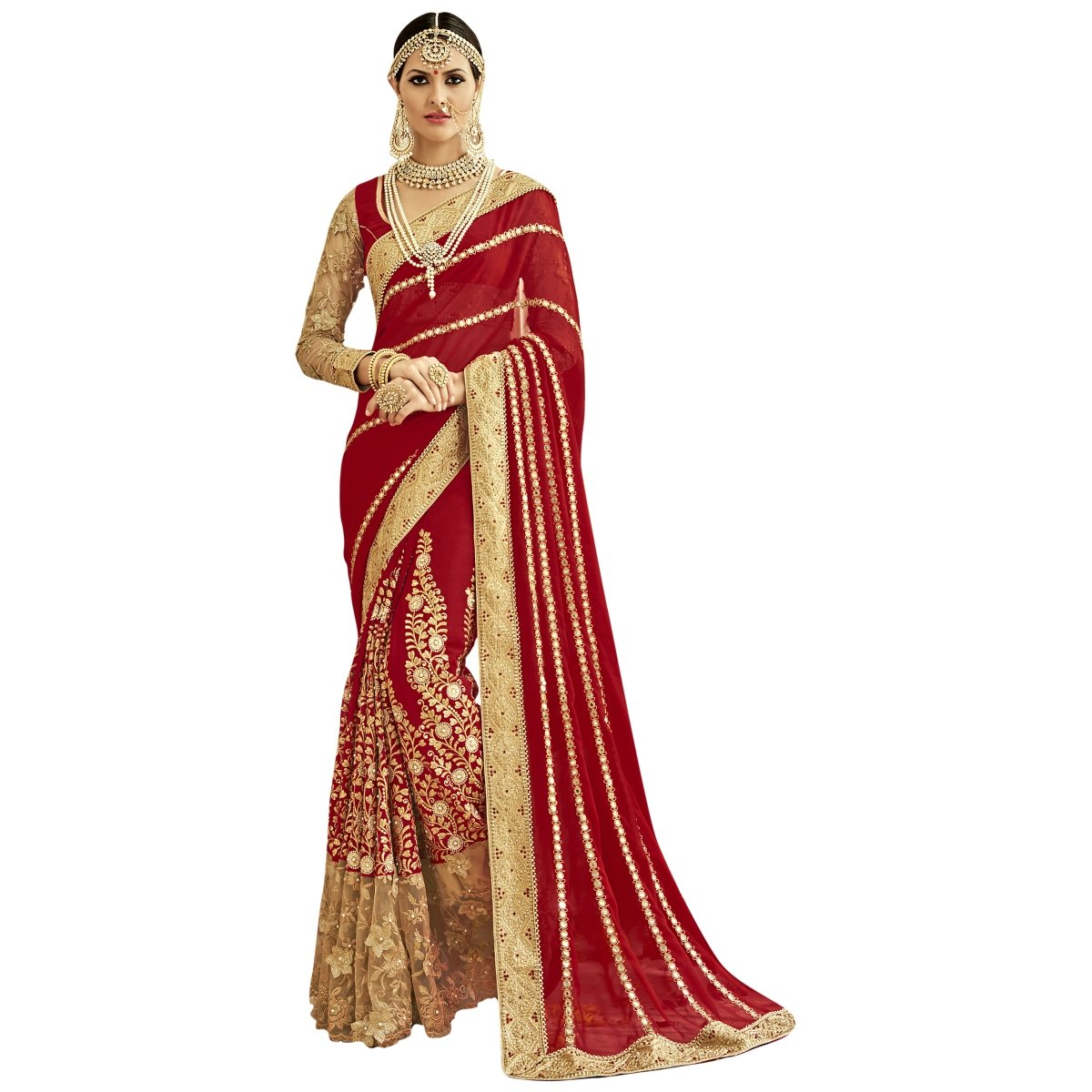Triveni Women's Indian Red Colored Embroidered Faux Georgette Wedding Saree