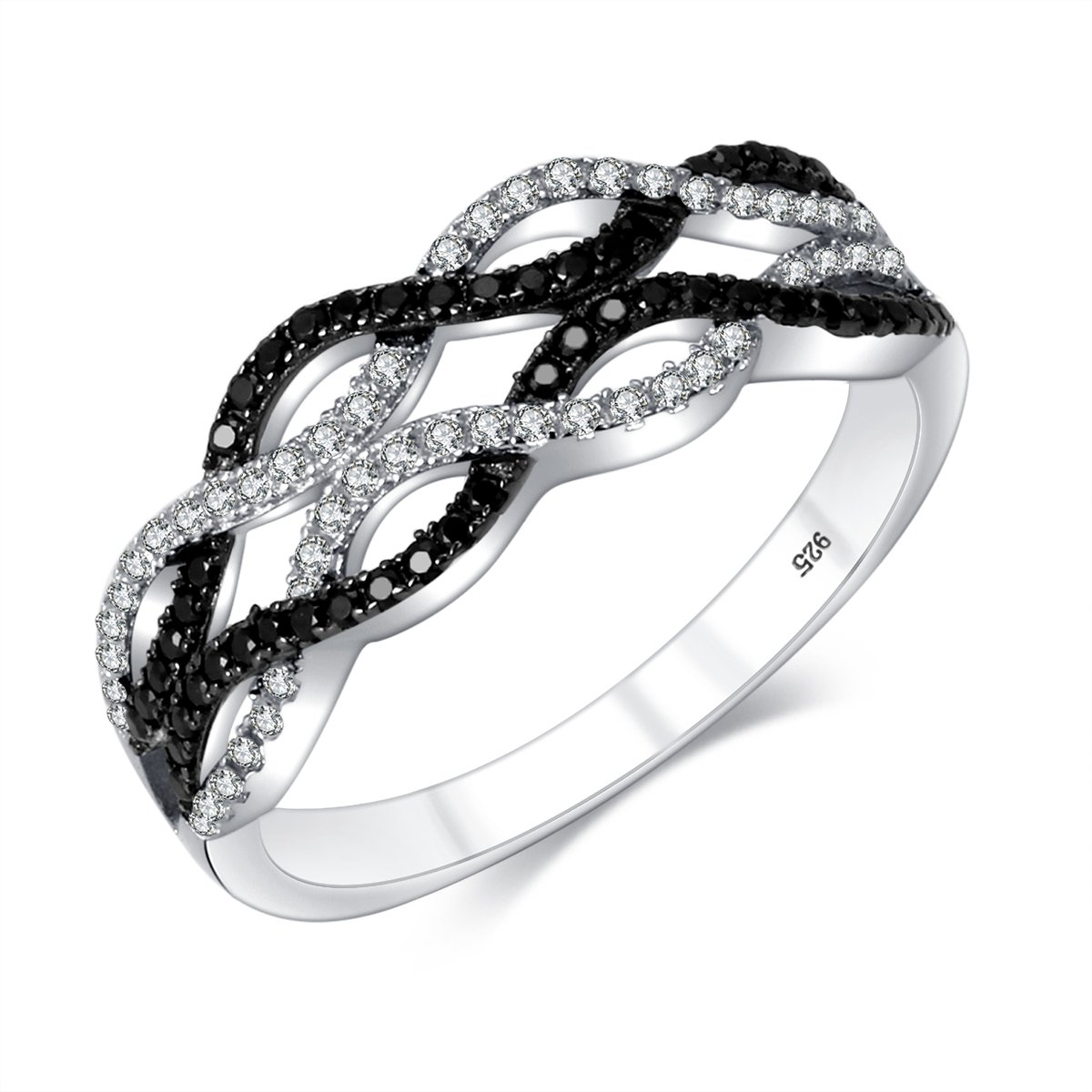 M&D Jewelry Wedding Bands 925 Sterling Silver Black & White Paved Braided Criss-Cross Twisted Wave Statement Infinity Swirl Ring
