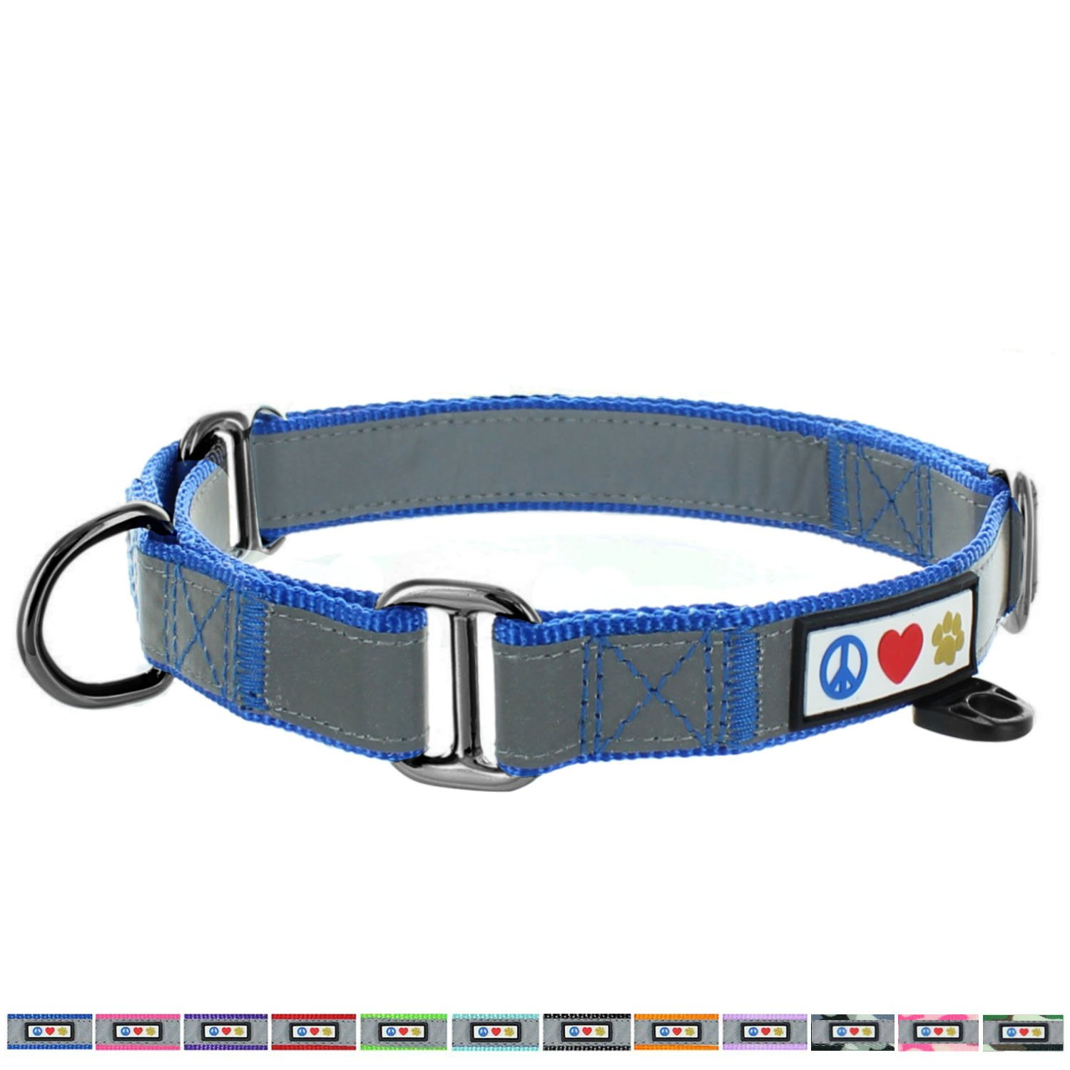 Pawtitas Pet Reflective Adjustable Soft Dog Collar Martingale Training Blue Medium 3/4 inch