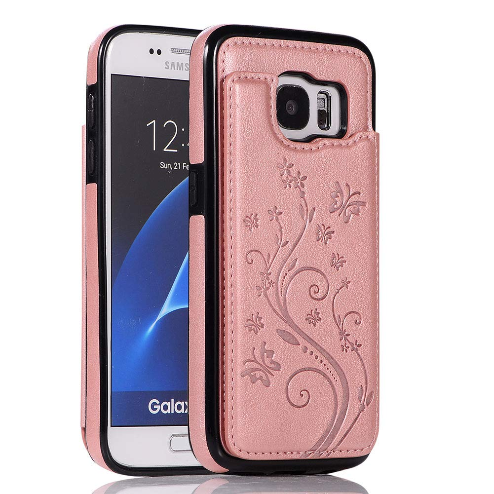 WIWJ Compatible with Samsung Galaxy S7 Phone Case Embossed Butterfly Double Buckle Leather Case Flip Folio Cover Kickstand with Card Holder Wallet Case for Samsung Galaxy S7-Blue