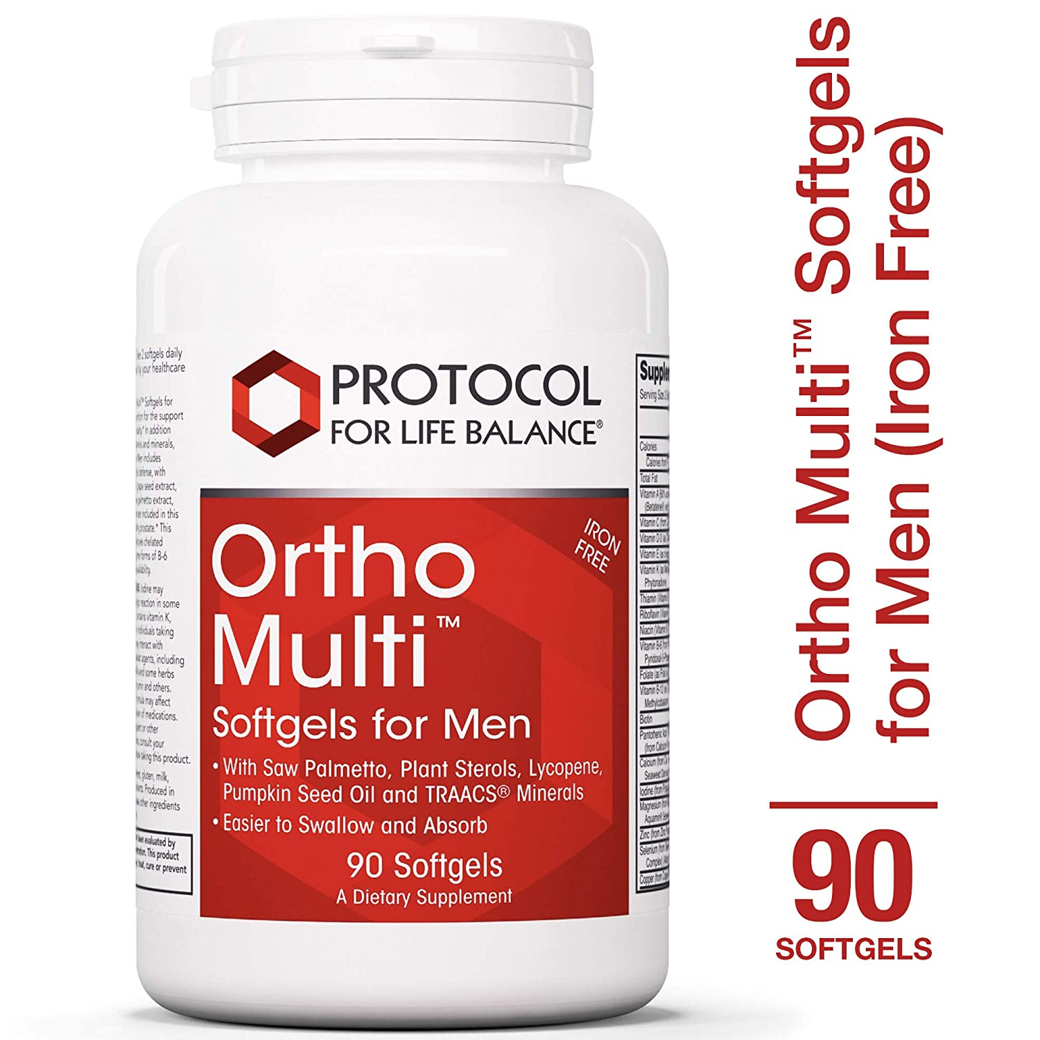 Protocol For Life Balance – Ortho Multi Softgels for Men Iron Free – with Saw Palmetto, Plant Sterols, Lycopene, Pumpkin Seed Oil and TRAACS Minerals, Easier to Swallow and Absorb – 90 Softgels