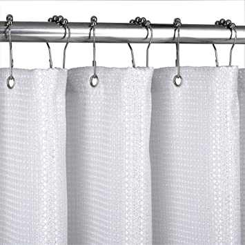 Amazon Valea Home Waffle Weave Fabric Shower Curtain Liner Super Waterproof Hotel Quality Bathroom Curtains With Sparkle Silver Thread For Christmas