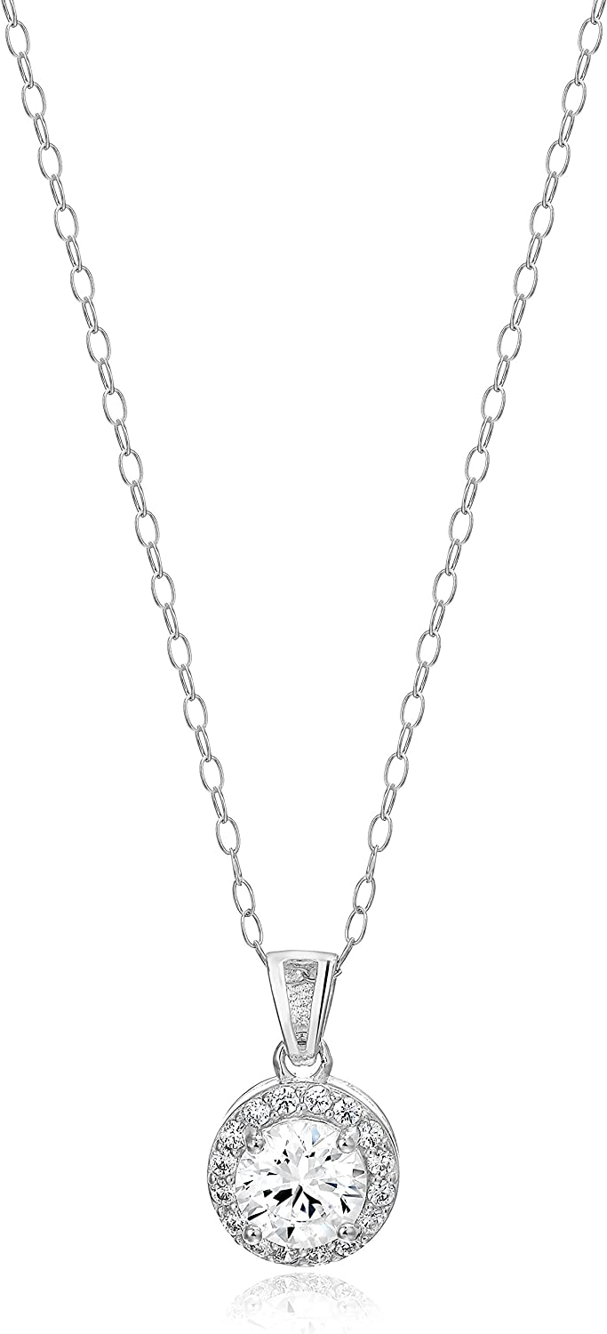 Amazon Essentials Sterling Silver Cubic Zirconia Halo Pendant Necklace (Round & Princess)