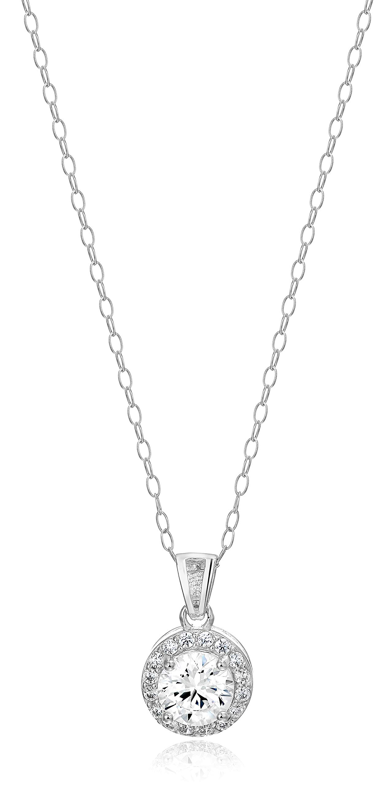 Amazon Essentials Sterling Silver Cubic Zirconia Round Halo Pendant Necklace by Amazon Essentials