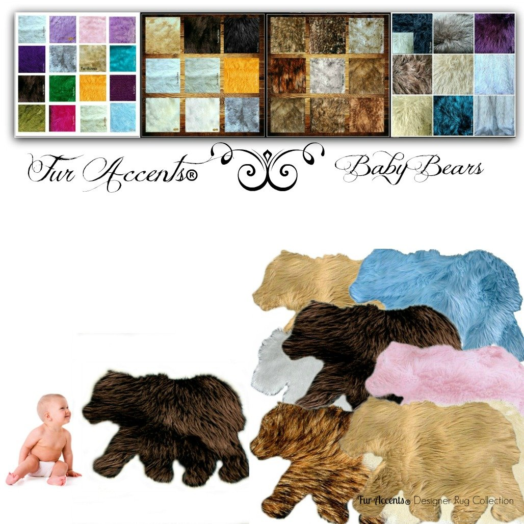 Nursery Rug Baby Bear Mama Bear Learning Play Accent Area Throw Carpet Small Large Pad Mat Floor Decor Accessory (36''x60'', Brown) by Fur Accents