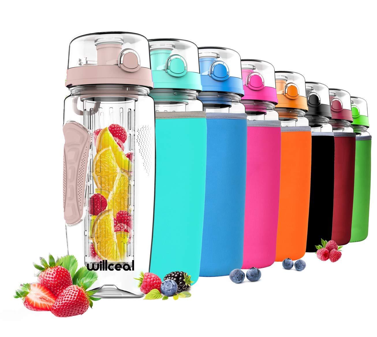 Willceal - Botella de Agua para infusor de Frutas, 81,28 g, Resistente, Grande, sin BPA, Tapa con Tapa, diseño a Prueba de Fugas, Deportes, Camping, etc, ...