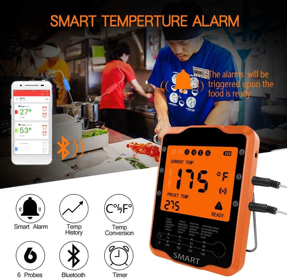 Wireless Digital BBQ Thermometer for Grilling Smart with 6 Stainless Steel Probes Remoted Monitor for Cooking Smoker Kitchen Oven Oreno Bluetooth Meat Thermometer Support iOS /& Android