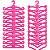 E-TING 50 PCS Pink Plastic Little Hangers for Barbie Doll Dress Clothes Gown Doll Clothes Accessories