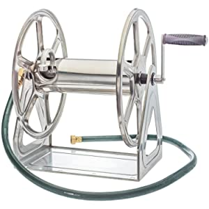Liberty Garden 709-S2 Steel Wall/Floor Mounted Hose Reel, Holds 200-Feet of 5/8-Inch Hose - Stainless Steel