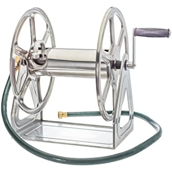 Liberty Garden Products 709 S2 Steel Hose Reel Wall/Floor Mounted, Silver