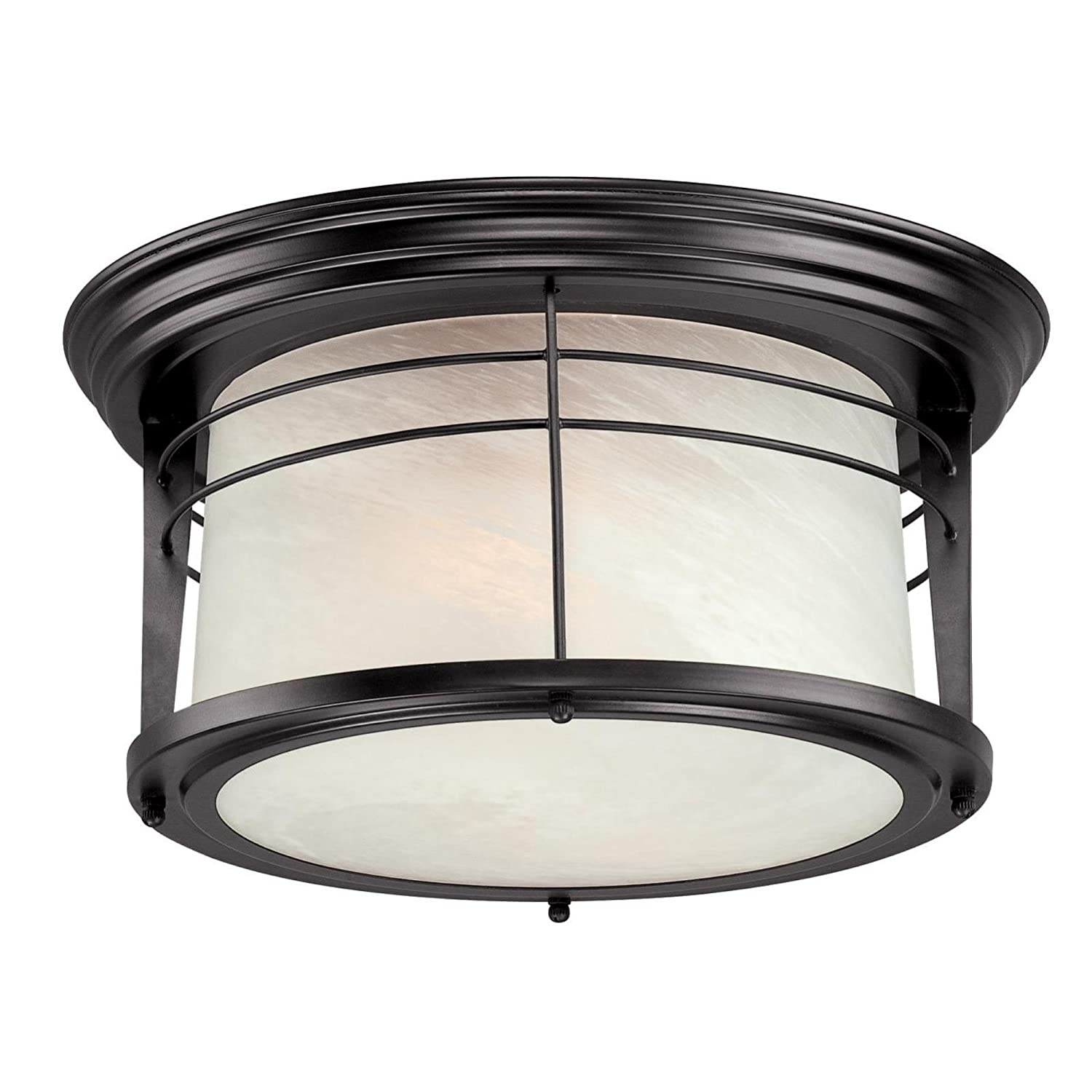 Westinghouse 05937003861 6674600 Senecaville Two-Light Exterior Flush-Mount Fixture, Weathered Bronze Finish on Steel with White Alabaster Glass, 1