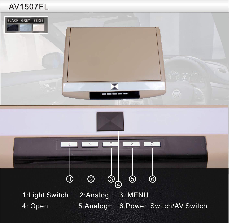 CARAVAN 4K Flip Down Monitor, 15.6'' Wide Screen High Resolution Roof Mount Monitor with 1080p HDMI&USB Input, FM&IR Transmitter (Grey)
