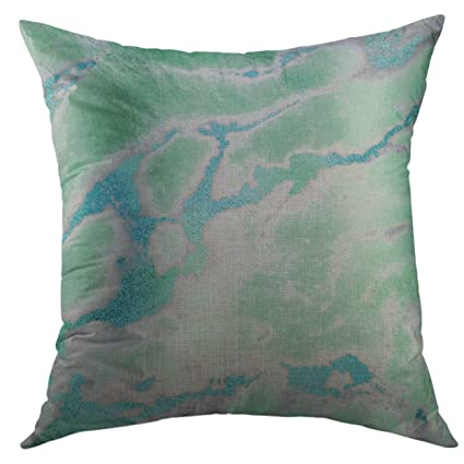 Mugod Pillow Case Silver Stone White Gray Mint Green Ocean Blue Gold Marble  Abstract Square Throw 68de63cec