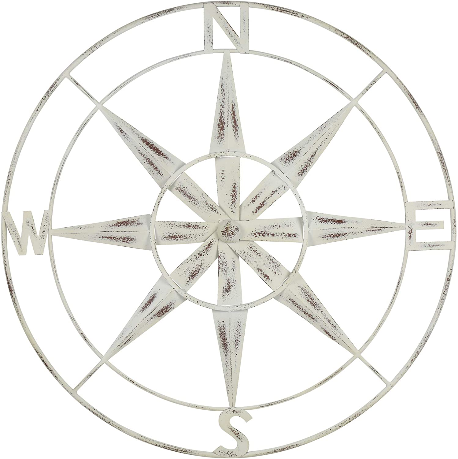 Stratton Home Decor Distressed White Compass Wall Décor, Extra Large