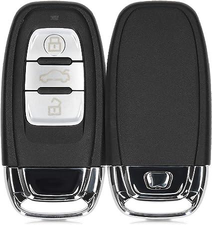 Compatible with Audi A4//A5//A6L//A7//A8//A8L//Q5//S5//S6//S7//S8 car Key Zinc Alloy Protection Hard Shell LORESJOY Key Cover Shell for Audi Metal Key Ring