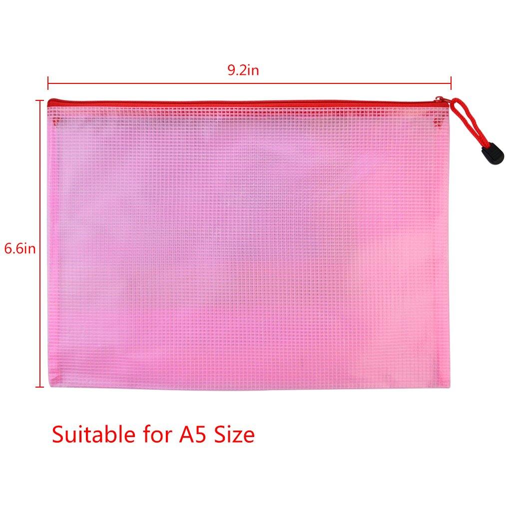 10 pcs A4 Zipper File Bags baotongle Zippered Waterproof PVC Pouch Plastic Zip Document Filing Folder 5 Colors